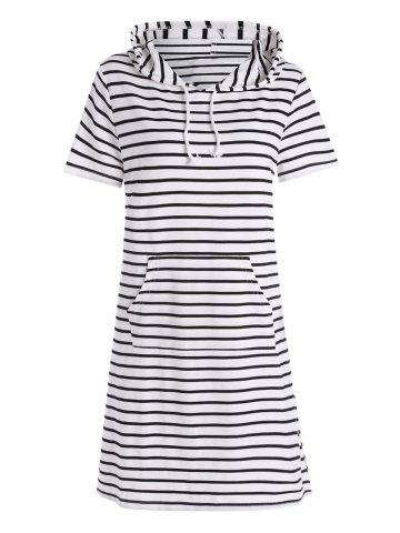 Sale Plus Size Pocket Striped Hooded Tee Dress - 3XL WHITE Mobile