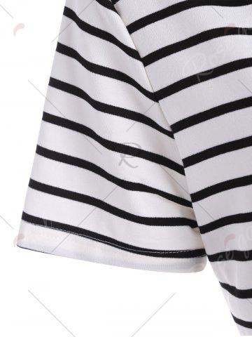 Affordable Plus Size Pocket Striped Hooded Tee Dress - 3XL WHITE Mobile