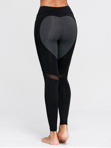 Chic Heart Pattern Mesh Panel Workout Leggings BLACK L
