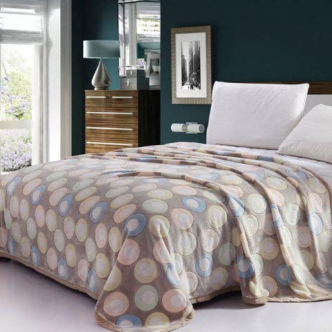 Latest Round Print Bedroom Soft Throw Blanket LIGHT BLUE DOT PATTERN EURO KING