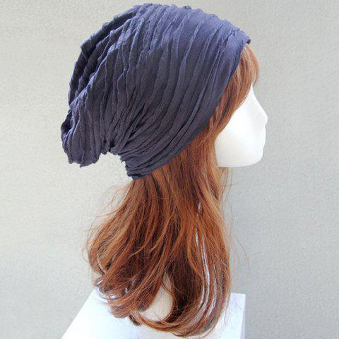 Chic Knitting Fold Layer Warm Beanie Hat - CADETBLUE  Mobile