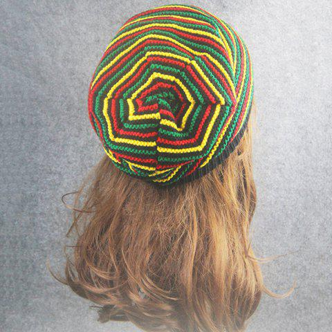 Latest Pinstriped Iridescence Knitting Folding Beanie - COLORFUL  Mobile