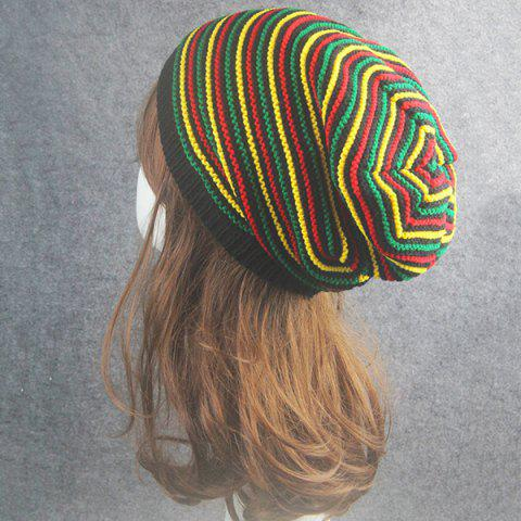 Online Pinstriped Iridescence Knitting Folding Beanie - COLORFUL  Mobile