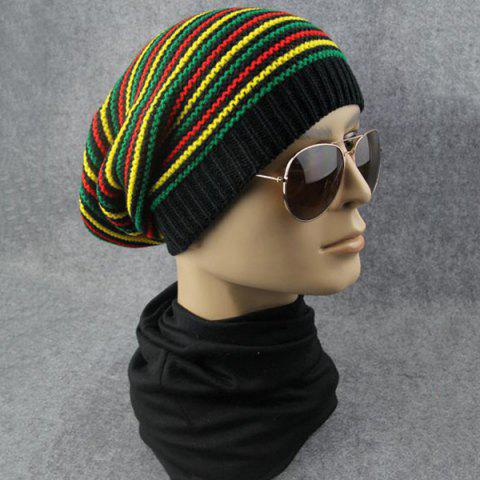 Outfit Pinstriped Iridescence Knitting Folding Beanie - COLORFUL  Mobile