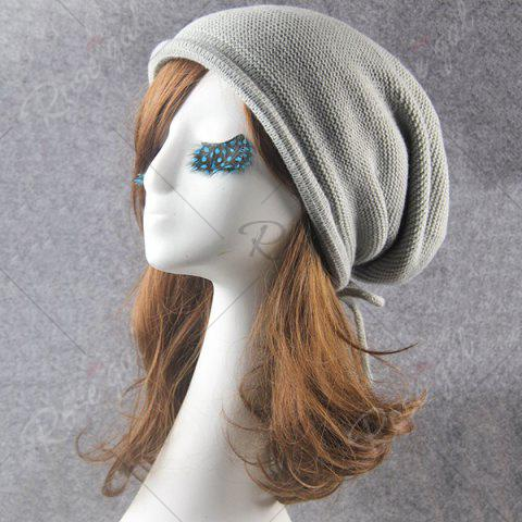 Best Lace Up Knitted Warm Beanie Hat - LIGHT GRAY  Mobile