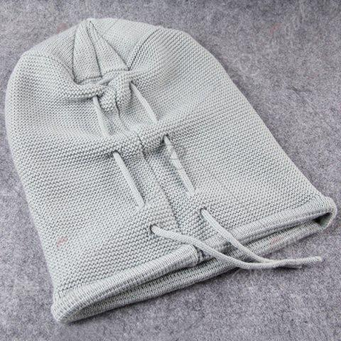Shops Lace Up Knitted Warm Beanie Hat - LIGHT GRAY  Mobile