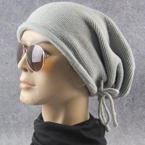 Outfits Lace Up Knitted Warm Beanie Hat - LIGHT GRAY  Mobile
