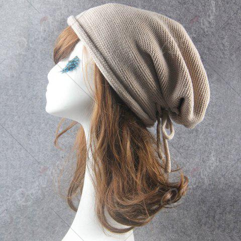 Online Lace Up Knitted Warm Beanie Hat - BEIGE  Mobile