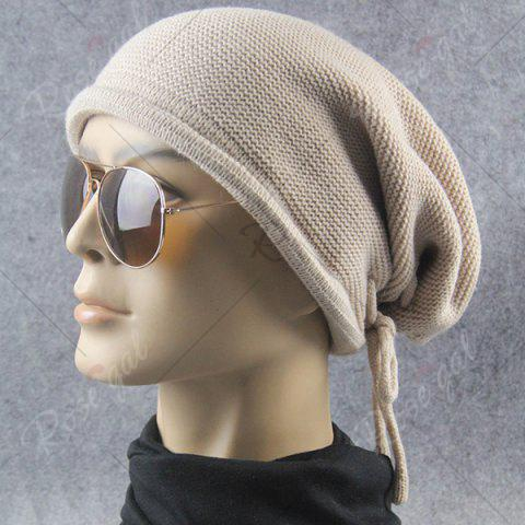 Shops Lace Up Knitted Warm Beanie Hat - BEIGE  Mobile