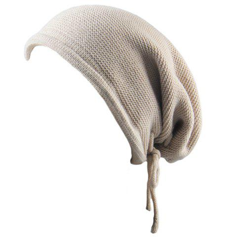 Best Lace Up Knitted Warm Beanie Hat - BEIGE  Mobile