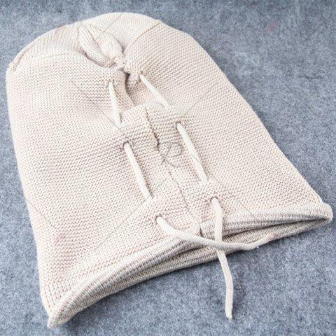 Discount Lace Up Knitted Warm Beanie Hat - BEIGE  Mobile