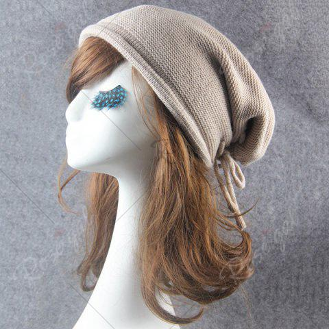 Sale Lace Up Knitted Warm Beanie Hat - BEIGE  Mobile