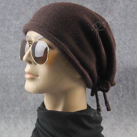 Hot Lace Up Knitted Warm Beanie Hat - COFFEE  Mobile