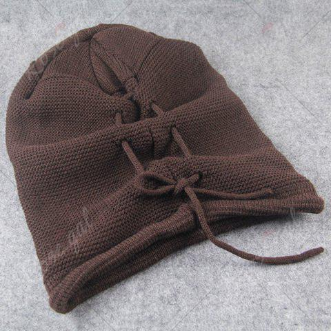 Sale Lace Up Knitted Warm Beanie Hat - COFFEE  Mobile
