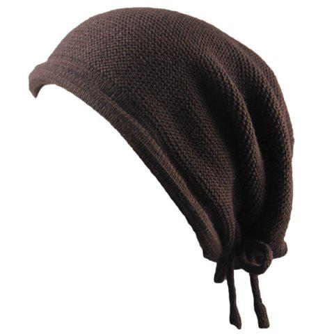 Affordable Lace Up Knitted Warm Beanie Hat - COFFEE  Mobile