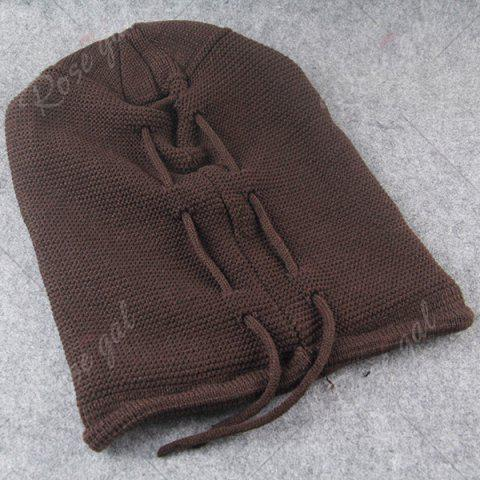 Cheap Lace Up Knitted Warm Beanie Hat - COFFEE  Mobile
