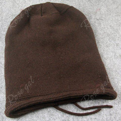 Store Lace Up Knitted Warm Beanie Hat - COFFEE  Mobile