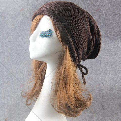Best Lace Up Knitted Warm Beanie Hat - COFFEE  Mobile