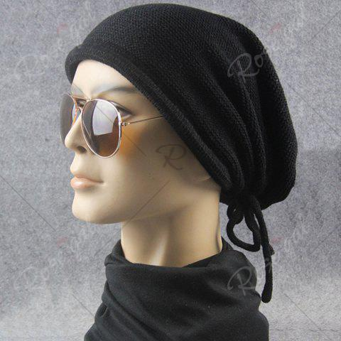 Store Lace Up Knitted Warm Beanie Hat - BLACK  Mobile