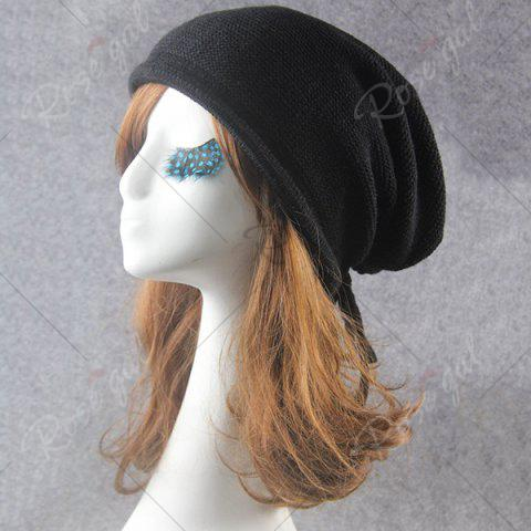 Shop Lace Up Knitted Warm Beanie Hat - BLACK  Mobile