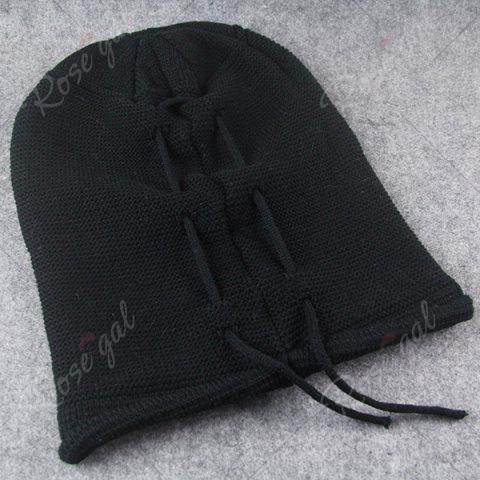 Fashion Lace Up Knitted Warm Beanie Hat - BLACK  Mobile