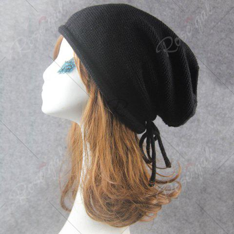 Unique Lace Up Knitted Warm Beanie Hat - BLACK  Mobile