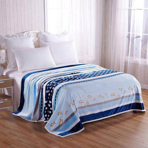 Store Stripe Star Fish Printed Throw Blanket BLUE STRIP PATTERN DOUBLE