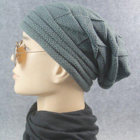Store Triangle Knitted Fold Warm Beanie Hat - DEEP GRAY  Mobile