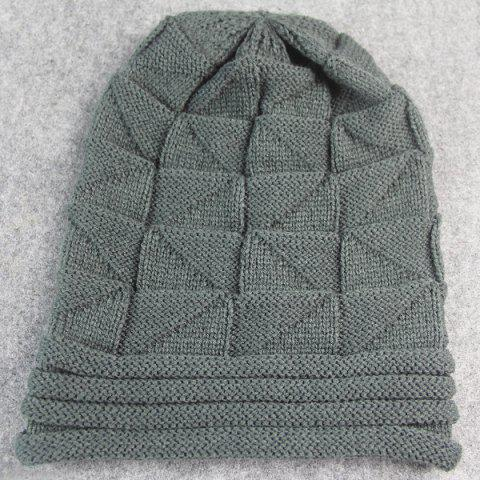 Unique Triangle Knitted Fold Warm Beanie Hat - DEEP GRAY  Mobile