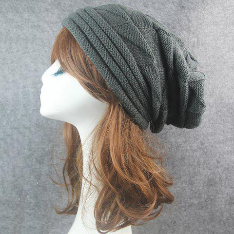 Buy Triangle Knitted Fold Warm Beanie Hat - DEEP GRAY  Mobile
