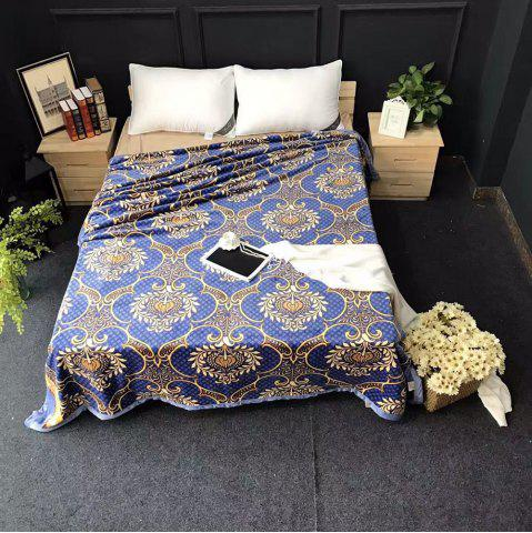 Unique Flower Printed Throw Naked Sleep Blanket BLUE EURO KING