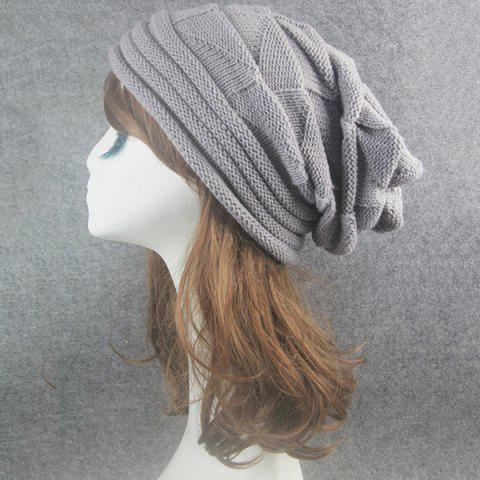 Buy Triangle Knitted Fold Warm Beanie Hat - LIGHT GRAY  Mobile