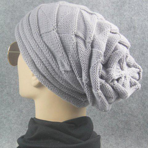 Hot Triangle Knitted Fold Warm Beanie Hat - LIGHT GRAY  Mobile