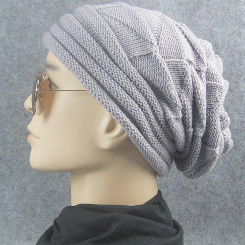 Trendy Triangle Knitted Fold Warm Beanie Hat - LIGHT GRAY  Mobile
