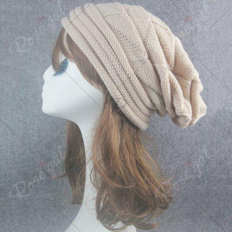 Best Triangle Knitted Fold Warm Beanie Hat - BEIGE  Mobile
