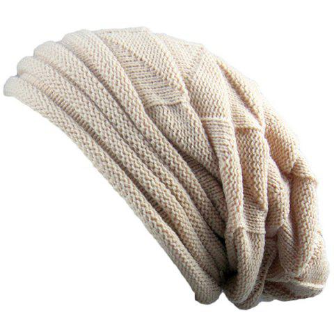 Buy Triangle Knitted Fold Warm Beanie Hat - BEIGE  Mobile