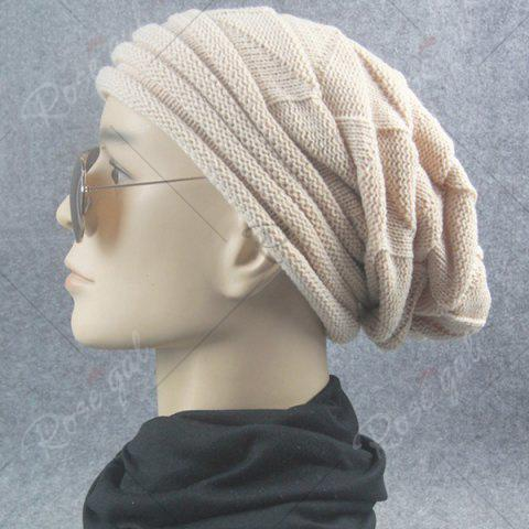 Hot Triangle Knitted Fold Warm Beanie Hat - BEIGE  Mobile