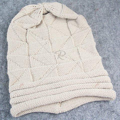 Cheap Triangle Knitted Fold Warm Beanie Hat - BEIGE  Mobile