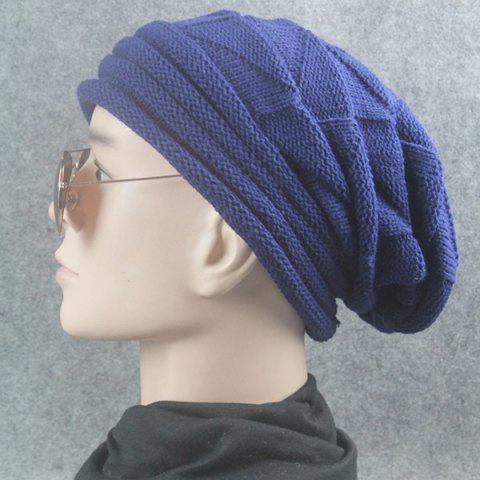 Cheap Triangle Knitted Fold Warm Beanie Hat - CADETBLUE  Mobile