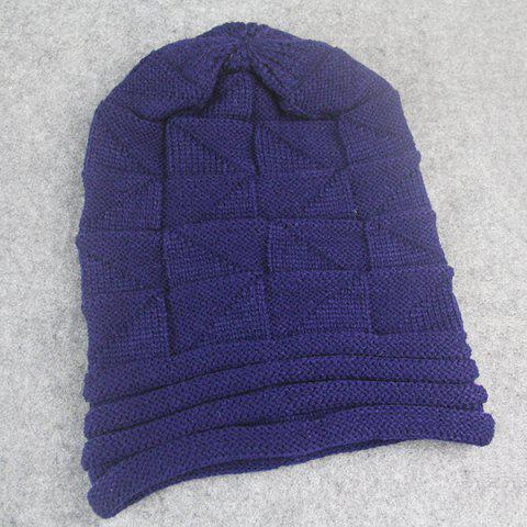 Affordable Triangle Knitted Fold Warm Beanie Hat - CADETBLUE  Mobile