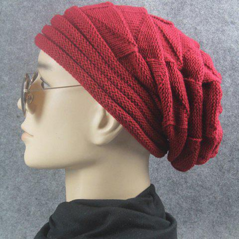 Fancy Triangle Knitted Fold Warm Beanie Hat - CLARET  Mobile