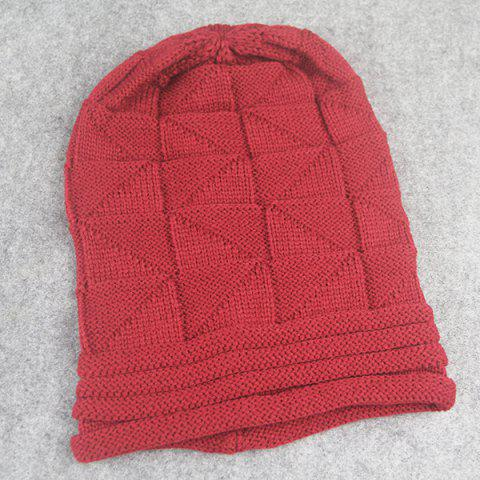 Buy Triangle Knitted Fold Warm Beanie Hat - CLARET  Mobile