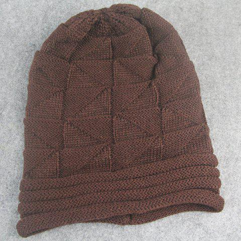 Online Triangle Knitted Fold Warm Beanie Hat - COFFEE  Mobile