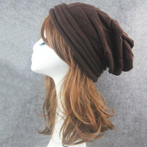 Hot Triangle Knitted Fold Warm Beanie Hat - COFFEE  Mobile
