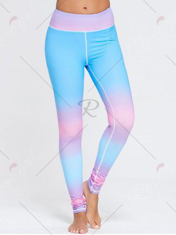 Affordable Rainbow Printed Ombre Gym Leggings - S BLUE Mobile