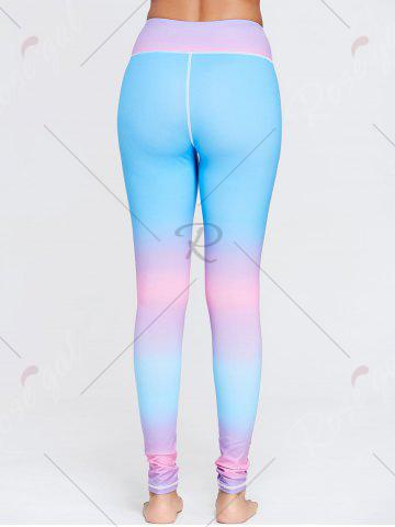 Fancy Rainbow Printed Ombre Gym Leggings - S BLUE Mobile