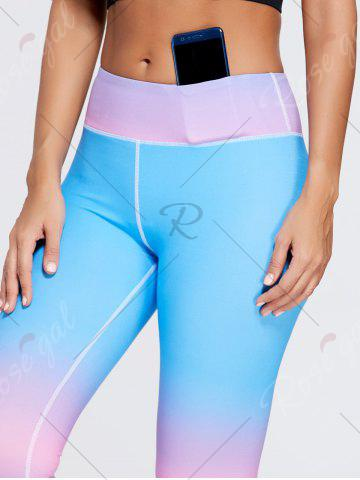 Outfit Rainbow Printed Ombre Gym Leggings - M BLUE Mobile