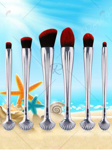 Outfit 6Pcs Shell Design Plated Facial Makeup Brushes Set - BLACK RED  Mobile