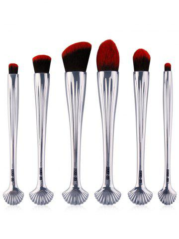 Shops 6Pcs Shell Design Plated Facial Makeup Brushes Set - BLACK RED  Mobile
