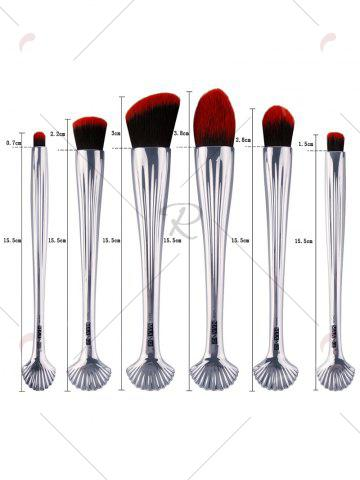 Latest 6Pcs Shell Design Plated Facial Makeup Brushes Set - BLACK RED  Mobile